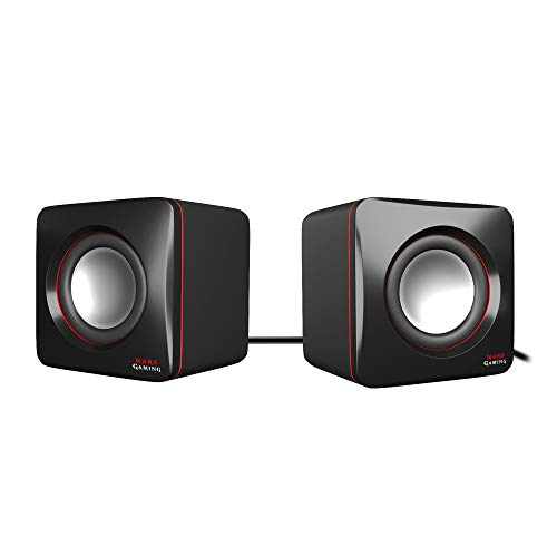Mars Gaming MAS0 - Altavoces gaming (8W potencia, tamaño compacto, rendimiento graves optimizado, sistema de canal 2.0, sonido 3D, USB, Jack 3.5mm, PC / Mac / Smartphone / Tablet), negro y rojo