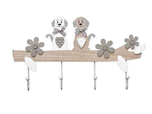 Hund Kleiderhaken Garderobenhaken Hakenleiste - Dekorative Wandhaken Holz im Hundedesign , 4 Haken Hausdekoration für Wand oder Tür