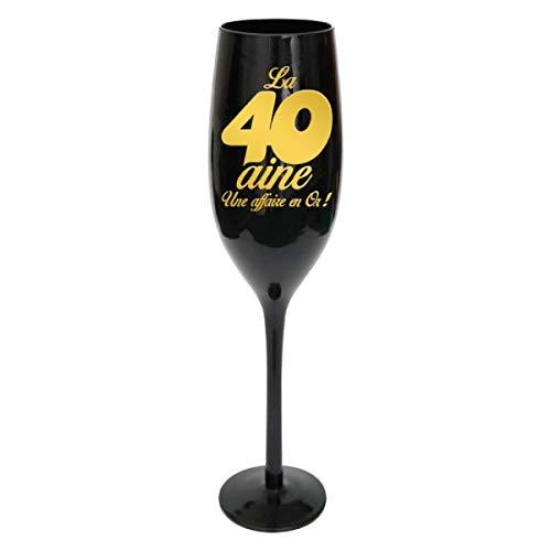 Les Trésors De Lily [N2736 - Coupe Flute à Champagne '40 Ans' Noir doré - 24 cm