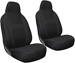 Motorup America Auto Seat Cover 2pc Set Intergrated High Back Buckets - Fits Select Vehicles Car Truck Van SUV Black