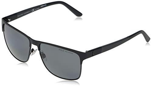 Polo Ralph Lauren Ph3128 Óculos de sol masculinos quadrados, Preto fosco em preto brilhante/cinza polarizado, 57 mm