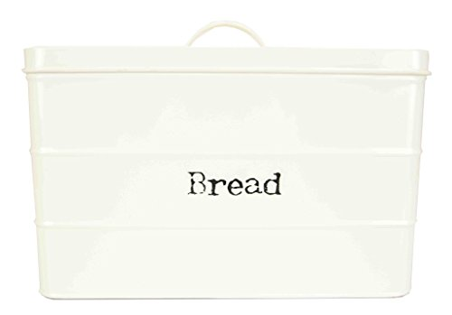 Home Basics Tin Canister Collection, 13-Liter Bread Box with Cover, Kitchen Food Storage Organization, Ivory