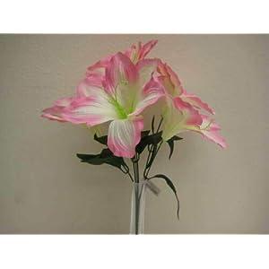 16″ Bouquet 2 Bushes Pink Amaryllis Artificial Silk Flowers LivePlant