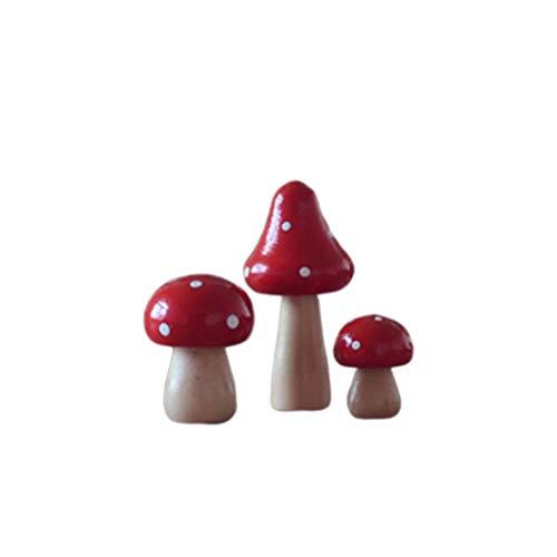 HEALLILY 3 Stücke Mini Pilze Figur Miniatur Natur Holz Pilze Statue Dekofigur Mikro Landschaft Ornament Bonsai Pupenhaus Dekoration Weihnachten Neujahr Party Tischdeko Xmas Geschenke Rot
