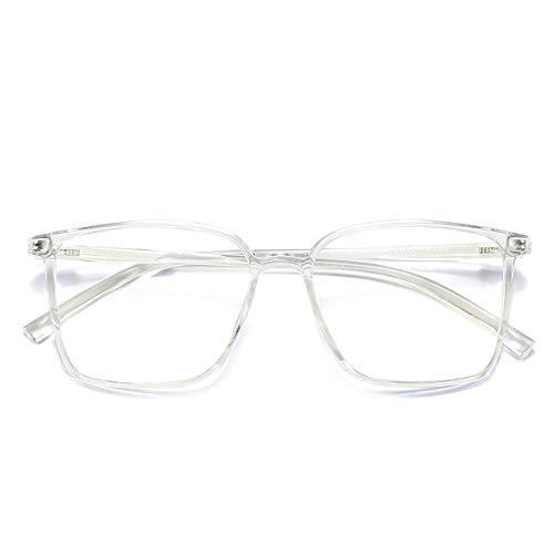 Blaulicht-blockierende Brille mit Filter, Computerbrille gegen Augenbelastung, Kopfschmerzen, quadratischer Rahmen für Damen und Herren Gr. 56, durchsichtig