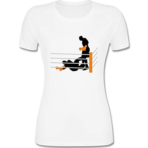 Shirtracer Kampfsport - Boxer am Boden K.O. geschlagen - XS - Weiß - Boxen - F355 - atmungsaktives Funktionsshirt für Damen