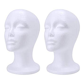 wreatrea 2 Pack Foam Wig Head - Female Styrofoam Mannequin Hairpieces Stand Holder Cosmetics Model Head Wig Display for Home Salon and Travel  10.6-Inch H