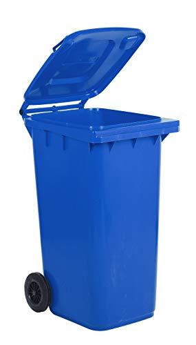 Bidone carrellato per la raccolta differenziata rifiuti Mobil Plastic 240 Lt per uso esterno - blu (UNI EN 840)