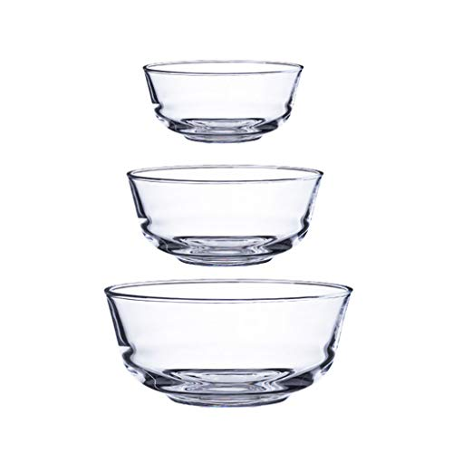 HAOXIANG Glass Salad Bowl Set, Household Heat-Resistant Stackable Mixing Bowls for Storage, Serving-Transparent, Dishwasher, Refrigerator and Oven – 3 Piece,Ordinary Glass