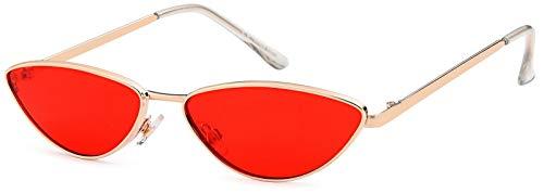 styleBREAKER Damen Cateye Sonnenbrille mit schmalem Metallrahmen, Polycarbonat Flachgläser, Retro Look, Katzenaugen Stil 09020097, Farbe:Gestell Silber / Glas Rot getönt