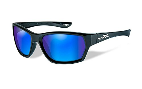 Wiley X Wx Moxy Gafas de Sol, Unisex, Gloss Black/Polarized Blue/Green, Small/Large