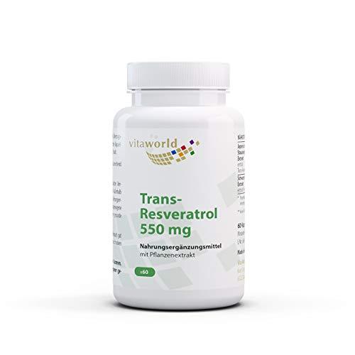 3er Pack Vita World Trans-Resveratrol 550 mg aus Japanischem Staudenknöterich Extrakt 3 x 60 Kapseln Vegan/Vegetarisch Apotheker-Herstellung