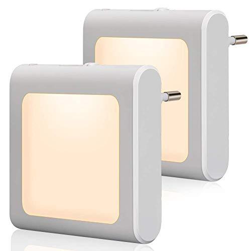 Powerdelux LED Nachtlicht Steckdose mit Dämmerungssensor, Helligkeit Stufenlos Einstellbar Automatisch Orientierungslicht für Kinderzimmer, Schlafzimmer, Küche, Orientierungslicht, WarmWeiß