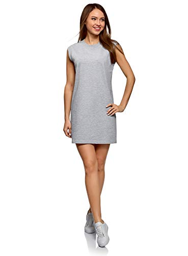 oodji Ultra Mujer Vestido de Punto de Estilo Deportivo, Gris, ES 38 / S