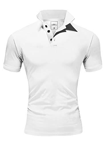 Amaci&Sons Herren Poloshirt Basic Kontrast Stickerei Kurzarm Polohemd T-Shirt 5102 Weiß XL