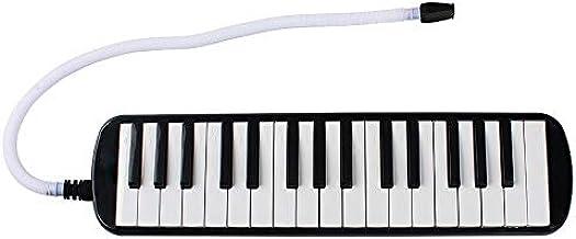 JVSISM 1 Set 32 Key Piano Style Melodica with Box Organ Accordion Mouthpiece Blow Keyboard (Black)