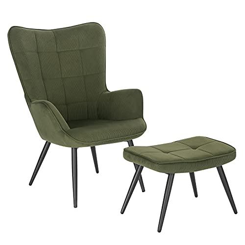 WOLTU Relaxsessel Lehnstühle Vintager Retro Sessel Polstersessel mit Hocker Fernsehsessel Ohrensessel Cordsamt Dunkelgrün SKS28dgn