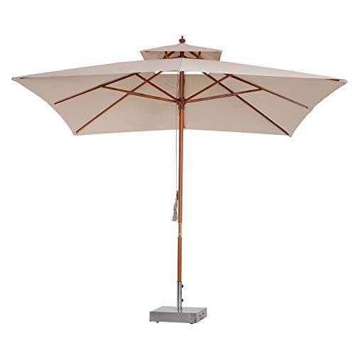 Outsunny Sombrilla Parasol de Bambú Madera para Jardín Terraza Patio Playa Doble...