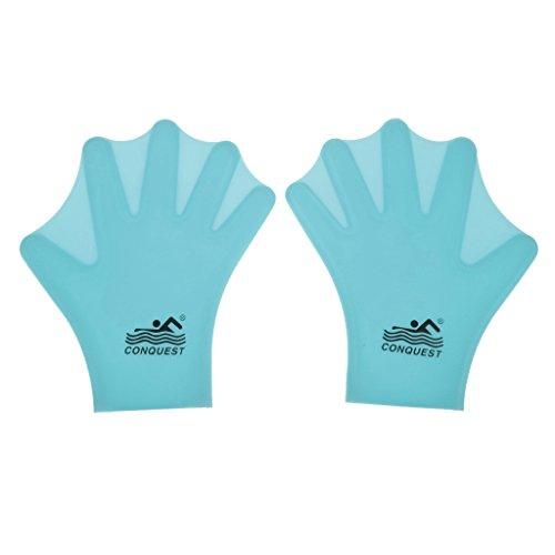 Generic 1 Paar Schwimmen Wassersport Schwimmhäuten Handschuhe Silikonfinger Hand Für Kinder - Blau