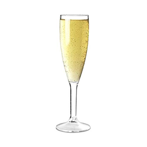 Caja de 12 copas de champán de policarbonato prácticamente irrompible.