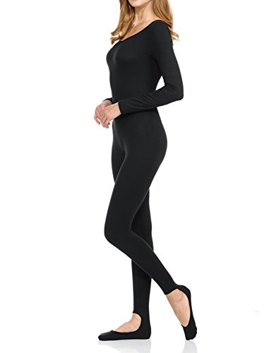 Ladybug Women Catsuit Tank Long Sleeve Yoga one Piece Footed Bodysuit Jumpsuit (Small, Black)