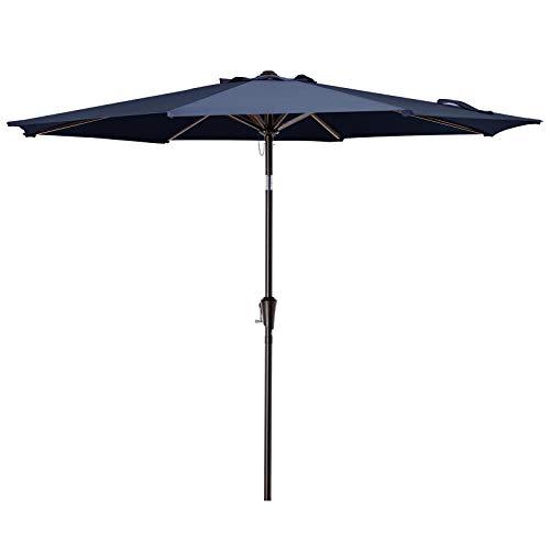 VOUA 10' Patio Umbrella Outdoor Market Umbrella Table Umbrellas with 8 Ribs Push Button Tilt and Crank UV Protection Outside Garden Pool Umbrella, Navy
