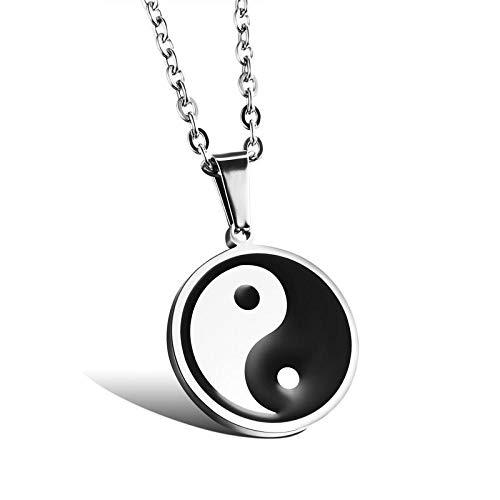 GBX Collar con colgante de Yin Yang Tai Chi para hombre, de acero inoxidable, estilo retro, estilo étnico, joyería de plata