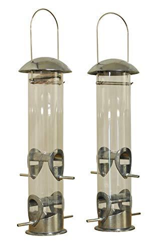 Selections GFE264 Set of 2 Heavy Duty Aluminium Bird Seed Feeders with 4 Feeding Ports (Set of 2)