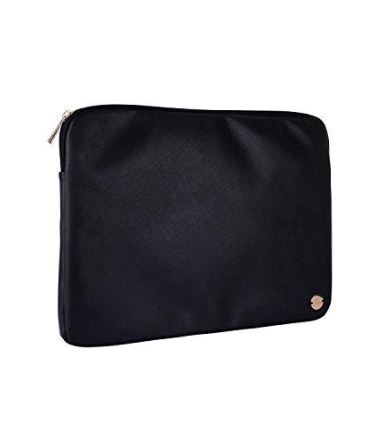 SIX Laptop-Tasche aus veganem Leder in elegantem Schwarz mit goldenen Details (703-640)