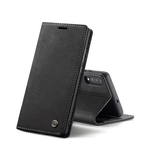 Chocoyi Compatible Funda Samsung Galaxy A50/A30s/A50s Flip Leather Edition,magnético, función de Soporte y Ranuras para Tarjetas-Negro