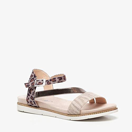 Blue Box dames sandalen met dierenprint - Beige