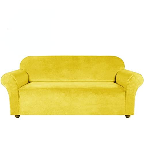 ABUKJM Fundas de sofá de Terciopelo 1/2/3/4 plazas elásticas, Protector Sofa Gatos arañazo de Sala, Todo Incluido, Adecuado para la mayoría de los sofás (Yellow,1seater 90-140cm)