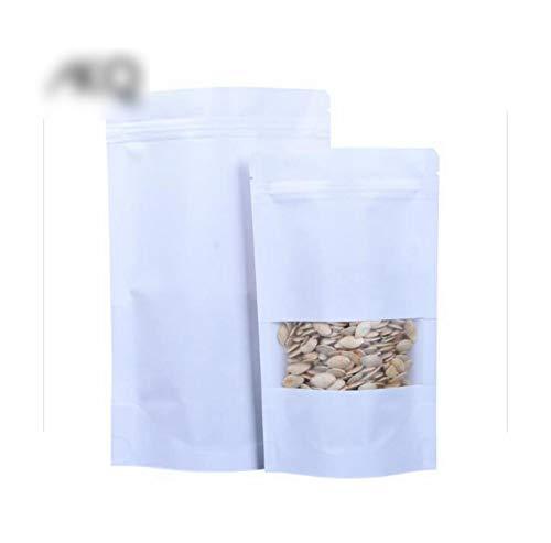 Geschenktasche, 9 x 14 cm, mit weißem Fenster, Stand-Up, Reißverschluss, Weiß, Papier, für Lebensmittel Tea Candy Cookie