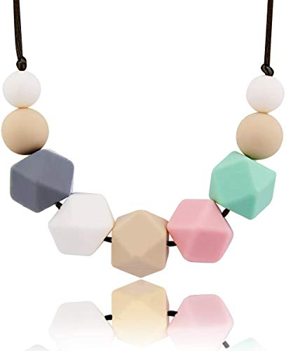 MeBB Chic Baby Teething Necklace For Mom Wear 100% BPA FREE Made From Food Grade Silicone Non-poisonous Simplified Design with Fresh Cute Colors