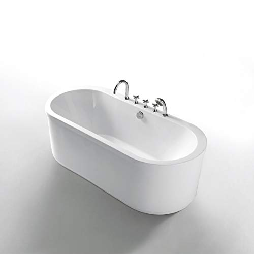Freistehende Badewanne aus durchgefärbtem, hochwertigem Sanitär Acryl Modell: D-8003 weiß inklusive Armaturen
