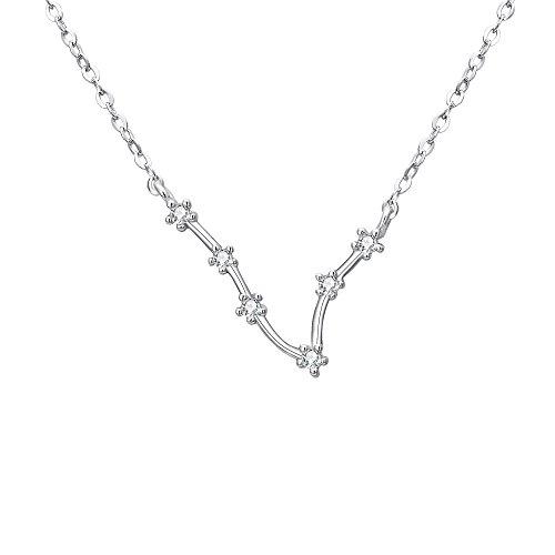 Clearine Halskette Sternzeichen 925 Sterling Silber Cubic Zirconia Sternbilder 12 Horoskop ''Fische'' Astrologie Anhänger Kette Klar für Damen Mädschen