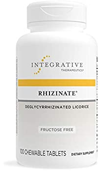 Integrative Therapeutics Rhizinate Fructose Free - Deglycyrrhizinated Licorice  DGL  - Supplement for Stomach Intestinal and Digestive Support with Licorice Root Extract - Gluten Free - Dairy Free - Vegan - 100 Chewable Tablets