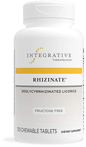 Integrative Therapeutics - Rhizinate, Fructose Free - Deglycyrrhizinated Licorice (DGL) - Support Stomach and Intestinal Relief - Original Licorice Flavor - 100 Chewable Tablets