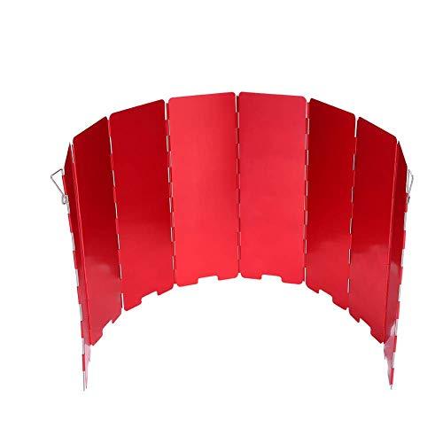 Estufa Plegable Parabrisas Accesorio para Acampar al Aire Libre Cocina Gas Wind Shield 8 Placas (Rojo)