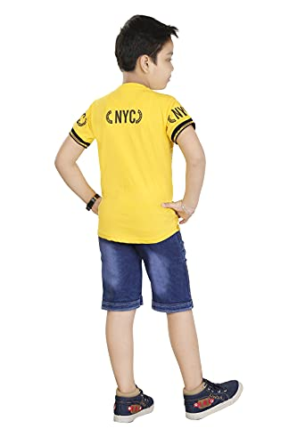 HRR Cotton Soft Round Neck Half Sleeve T-Shirt with 3/4th Jeans Pant Clothing Set for Kids