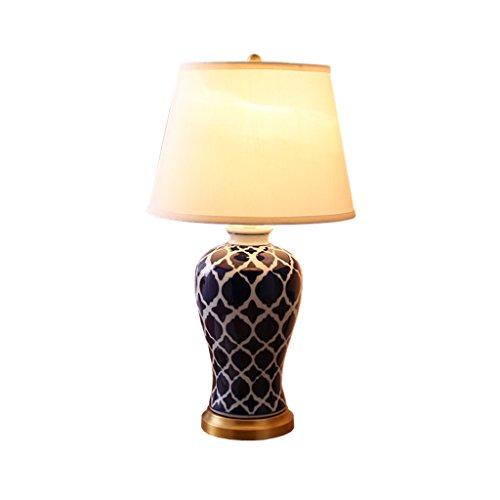 Yxsd Tafellamp van keramiek, American Country, bedlampje, slaapkamer, woonkamer, bureau, blauw en wit, porselein, decoratie, bureaulamp, knoopschakelaar, stof, lampenkap
