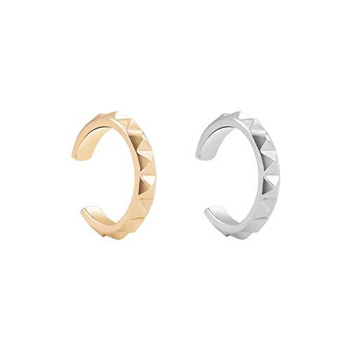 ShSnnwrl Aretes Pendientes Mujer de Plata Hombre Pendiente Moda Perla Ear Cuff Bohemia apilable en Forma de C Diamantes de imitación pequeñ