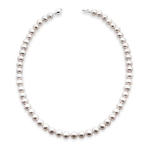 Secret & You Collana di Perle da Donna 45 cm di Lunghezza Perla Ovale d'Acqua Dolce coltivata Disponibile da 5-5,5, 6,5-7 e 7,5-8,0 mm - Chiusura in Argento Sterling Silver 925