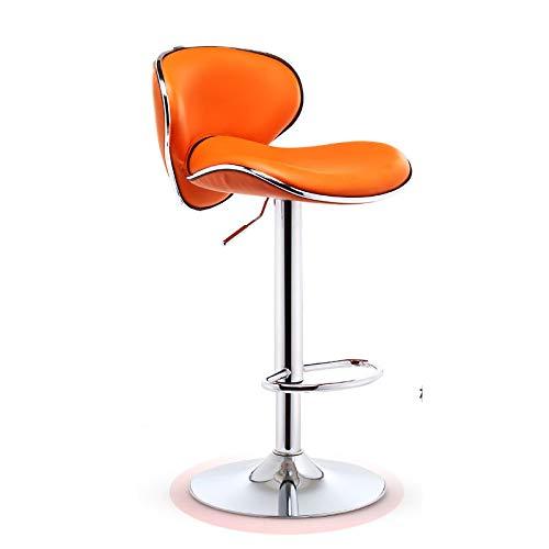 YAHAO Accessories Barhocker Schalensitz Barstuhl Mit Lehne Tresenhocker Höhenverstellbar Drehstuhl 360 Grad Bezug Aus Kunstleder,Orange