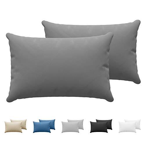 Set da 2 x Federa Cuscino 40x60 cm, Anthracite Cotone, Dreamzie - 100% Jersey di Cotone - Federa da Cuscino 40x60 - Copri Cuscino per Letto - Fodera Protezione per Cuscino