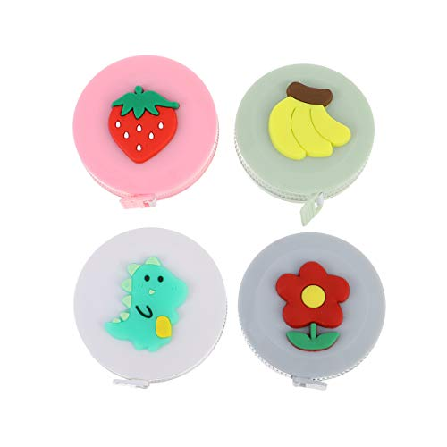 VALICLUD Chic 4Pcs Multifunktions Mini Measure Tape Round Soft Cartoon Tape Retractable Ruler