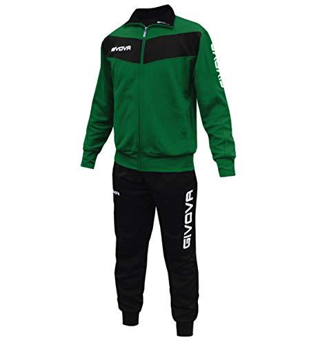 Giosal Completo Tuta Sportiva GIVOVA Uomo Donna Unisex Relax Sport Allenamento Running Visa-Verde - Nero-L