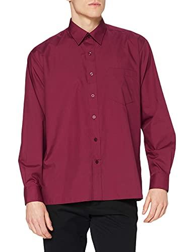 Premier Workwear Poplin Long Sleeve Shirt, Chemise Business Homme, Rouge (Burgundy), 16