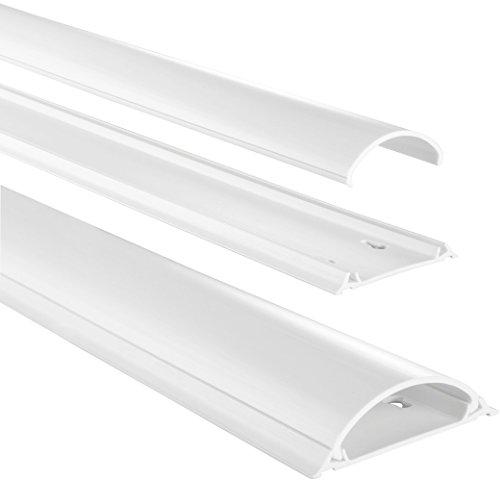 Hama Selbstklebender Kabelkanal weiß (Kunstoffleiste 1 Meter Länge, für 8 Kabel, halbrunde PVC Kabelabdeckung),83161