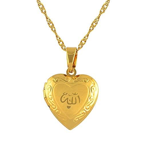 NCDFH Collar con Colgante Corazón Alá para Mujeres Y Hombres Joyería Musulmana Color Oro Color Collar De Cadena Islámica Collar De Profesor Mohamad # 201902 45Cm